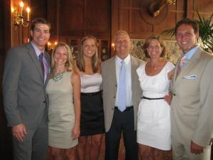 The Gartons – son-in-law BJ Szymanski, daughters Jessie and Jillian, husband Michael and son JJ – are grateful wife and mother Donna Garton, second from right, was spared on September 11, 2001.